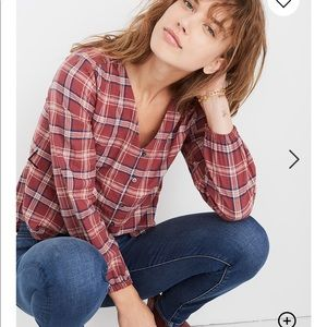 Madewell V-Neck Button -Down Shirt